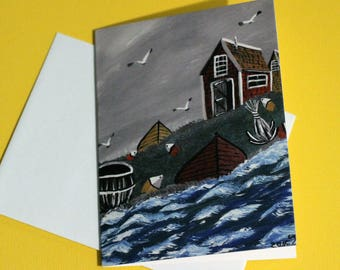 Acadian painting note cards - Traditional acadian art 4.25 x 5.5 size. Blank inside ; Acadie, french Acadien, fishing village, maritime