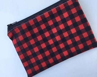 Zippered Snack Bag - Kids Snack Bag - Lunch Pouch - Ecofriendly - Snack Bag - Buffalo Plaid Lumberjack - Reusable - Back to School