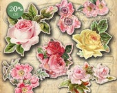CUT OUT ROSeS No. 3 Printable Digital Images/printable Roses/ Scrapbook / Roses Printable / Vintage Roses /Cut Outs / Roses / Flowers / Rose