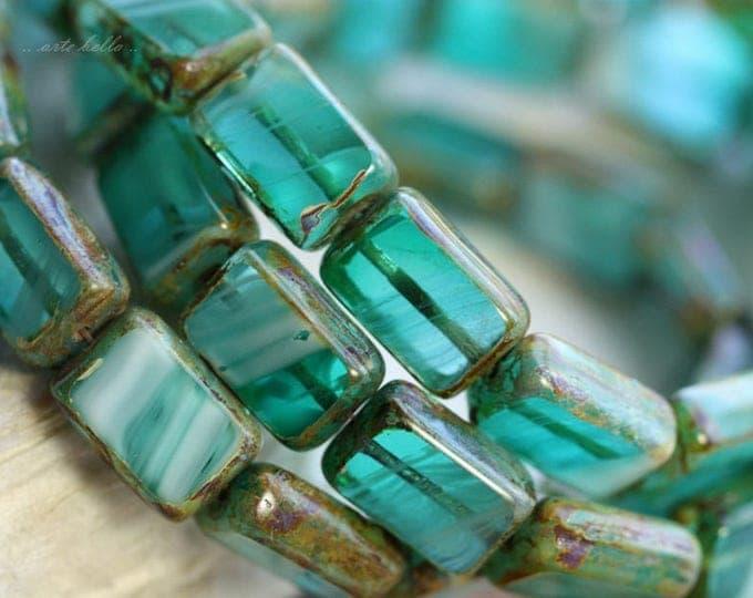 RAPIDS .. NEW 15 Picasso Czech Glass Rectangle Beads 12x8.5mm (B1036-st)