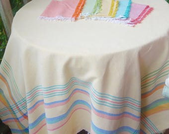 vintage colourful cotton picnic tablecloth and 5 napkins