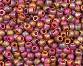 Size 8/0 Semi-Glazed Rainbow - Dk Red, Toho #8-2639F Glass Seed Bead - Sold in 10 grams
