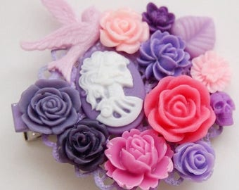 Purple and Pink Skull Cluster Clip-Floral Hair Clip-Bubble Goth Fashion-Kawaii Hair-Chunky Hair Clip-Fashion Accessory-One of a Kind-Gothic