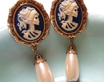 Skeleton Lady Dangle Stud Earrings-Gothic Elegance-Regal-Post Earrings-Victorian Mourning-Pearl Teardrop-Offbeat Bride-Silver Filled-Fashion