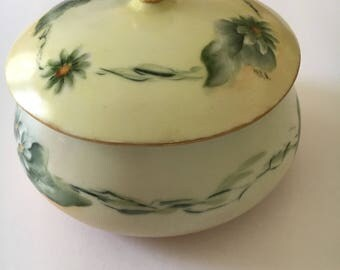 Hand Painted Limoges Sugar Bowl-Antique Limoges, Vintage Limoges, Hand Painted Limoges, Limoges Bowl, Hand Painted Porcelain