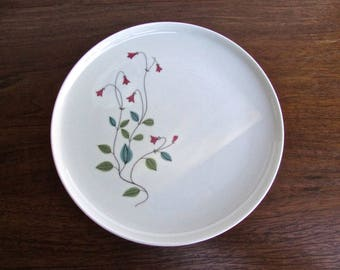 Franciscan 1958 Winsome, Set of 4 Salad Plates, Pink Bell-Flowers w/ Blue/Green Leaves, Tan Porcelain Mid Century Dinnerware