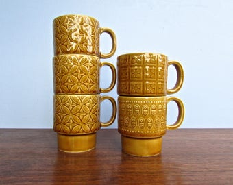 Vintage Japanese Stackable Gold-Brown Mugs, in the style of John Clappison for Hornsea, Made in Japan