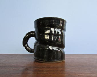 Telluride Container Studio Pottery Mug 1991, Braided/Twisted Handle & Tenmoku Glaze