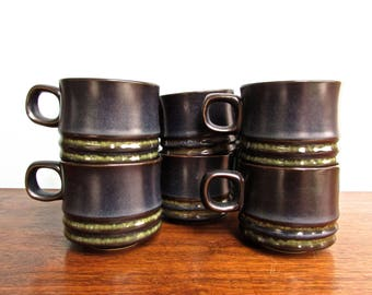 Kismet Blue Denby Langley Stoneware, Made in England, KISMET BLUE, Pair of Coffee Cups, 5 Pairs Available