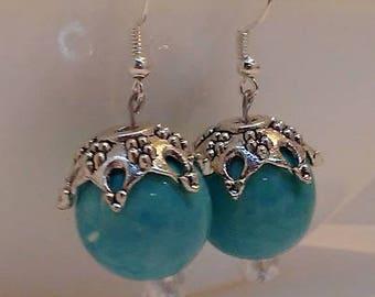 Aqua Ceramic Beaded Earrings