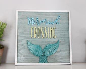 Wooden Wall Sign - Wooden Wall Decor - Wood Sign - Mermaid Crossing - Girls room decor - Mermaid sign - mermaid decor