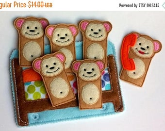 SALE 5 little monkeys Quiet book page - finger puppets - toddler learning toy - educational gift - church quiet toy - preschool toy - QB124