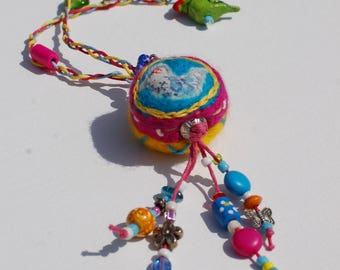 Boho Bird Necklace - Beaded Necklace - OOAK - Felted Bead Necklace - Colourful Jewellery