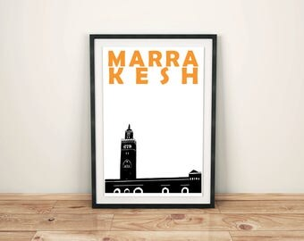 Marrakesh Print // Morocco Travel Art Print // Marrakech Poster // Moroccan Wall Art // Moroccan Print // Marrkesh Art Gift // Men's Gift