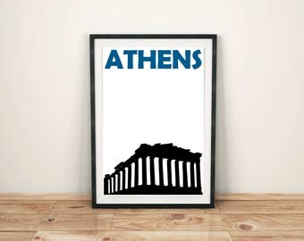 Athens Print // Greece Print // Travel Gift // Athens Greece // Athens Poster // Athens Art // Greek Art // Greek Poster // Greek Print