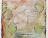 Encaustic painting, seed pod art, abstract encaustic, lunaria art