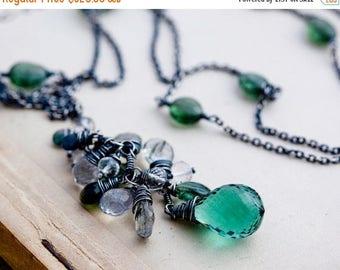 Summer Sale Gemstone Necklace, Cluster Necklace, Gemstone Necklace, Gemstone Cluster, Pine Tree Necklace, Sterling Silver, Green, PoleStar