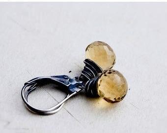 Drop Earrings, Wire Wrapped, Dangle Earrings, Quartz Earrings, Gemstone Earrings, Bamboo, Yellow, Sterling Silver, PoleStar