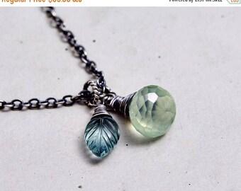 Gemstone Necklace, Prehnite Necklace, Fluorite Leaf, Sterling Silver,