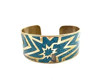 Bracelet SILVER brass CUFF turquoise stone Inlay vintage arm jewellery stamped Alpaca mexico