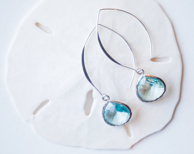 Silver Blue drop earrings