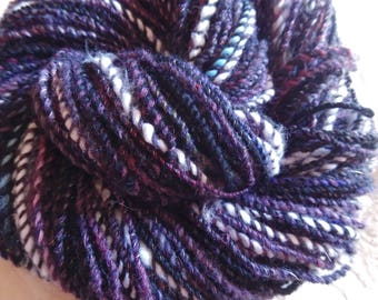 Reserved Midnight Fireflies handspun yarn with glow-in-the-dark thread and fiber, 100 yards worsted