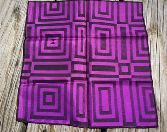 Modernist Mod Dandy Purple and Black Comic Book Madmen Rayon Pocket Square