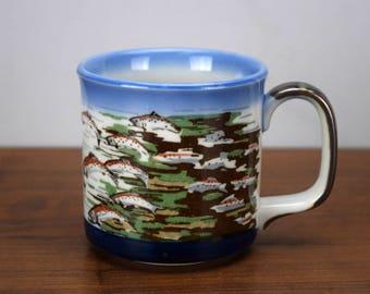 Vintage Running of the Salmon Coffee Mug, Stoneware Fish Coffee Cup