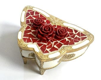 Butterfly Jewelry Box, Mosaic Butterfly Box, Red White Gold Butterfly Box, Ornate Butterfly Box, Butterfly Shaped Box, Roses Butterfly Box