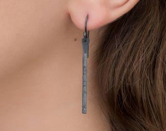 Hammered Bar Earrings- Long Dangles- Oxidized