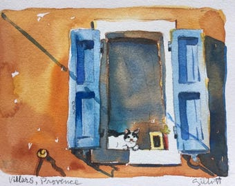 "Provencal window with cat, original watercolor 8 1/4"" x 6 1/4"""