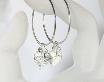 Silver Hoop Ear Wires, .925 Sterling Leaf Dangle Earrings, Hoop Earrings, Gifts for Her, Hoop Earrings, Leaf Charms, Statement Earrings