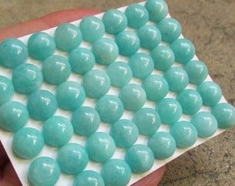 SALE 20% Off Natural Amazonite Cabochon 8mm Round, QTY4, Natural Blue Gemstone Peru , Matched Pair
