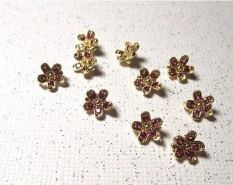 20% OFF SALE AAA Gold Flower Ruby Cz Qty4 Connector Finding Pendant Charm 18Kt Yellow Gold Plate