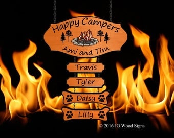 Campfire Pine Tree  RV Outdoor Sign - Cedar RV Camping Sign  w four addons - Family Name with Sign Holder Option JG Wood Signs Etsy AmiTim