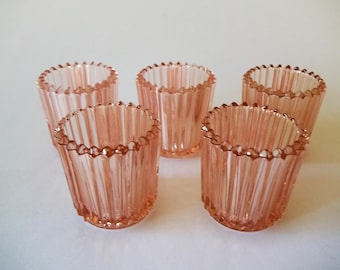 Indiana Glass Pink Peach Votive Candle Holders, Ribbed Set of 5, USA