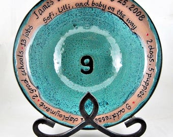 Pottery Family bowl, Anniversary gift, Handmade ceramic serving bowl