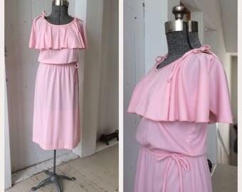 1970s Petal Pink Disco Dress Flutter Sleeves Elastic Waist Saturday Night Fever Size 10 Medium Large