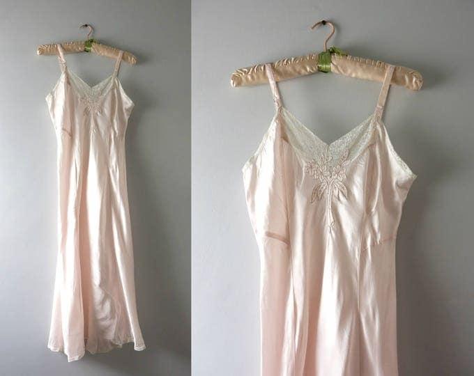 Vintage Pink Bridal Slip   1940s Palest Pink Slip Dress XS Deadstock