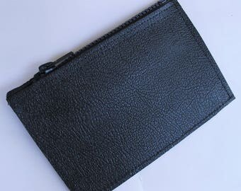 Stiff Black Leather,Small Zip Pouch,Fabric Lined