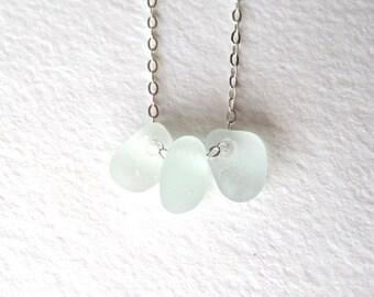 Genuine Sea Foam Pale Blue Sea Glass Bead Necklace on Sterling Silver Chain