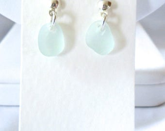 Soft Blue Single Drop Stud Earrings on Sterling Silver