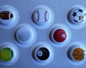 Sports Balls Flair buttons, push pins, magnets-YOU CHOOSE STYLE