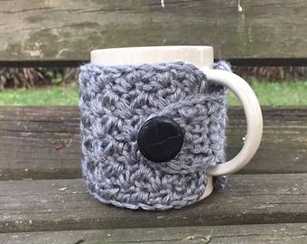 Crochet mug cozy cup cozy button wrap in heather gray