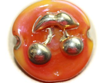 """Button ~ Glass, Pictorial, """"Bimini Type"""" Pressed and Lampworked Made By KPHoppe - Medium"""