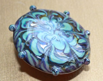 Button ~ Transparent Amber, Lampworked by KPHoppe ~ Large