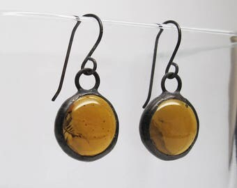 Raw Honey - Sterling Silver Stained Glass Nugget Earrings