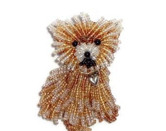 TEACUP POMERANIAN beaded keepsake dog pin pendant w/ sterling silver heart (Made to Order)