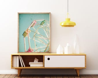 Nursery Art, Ferris Wheel Art, Pastel Colours, Baby Decor, Kids Room - Big Wheel