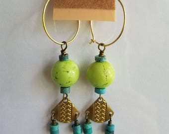 50%OFF Turquoise Earrings, Chartreuse Green, Gold Brass, Beaded Earrings, Summer Earrings Under 10